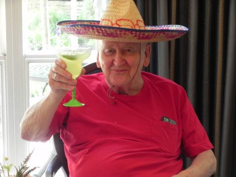 cinco de mayo resident enjoys margarita