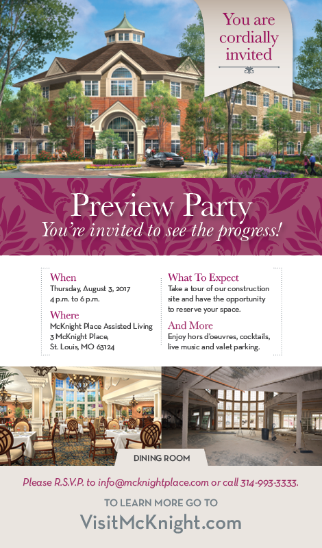 McKnight Place Assisted Living Expansion Preview Party Invitation