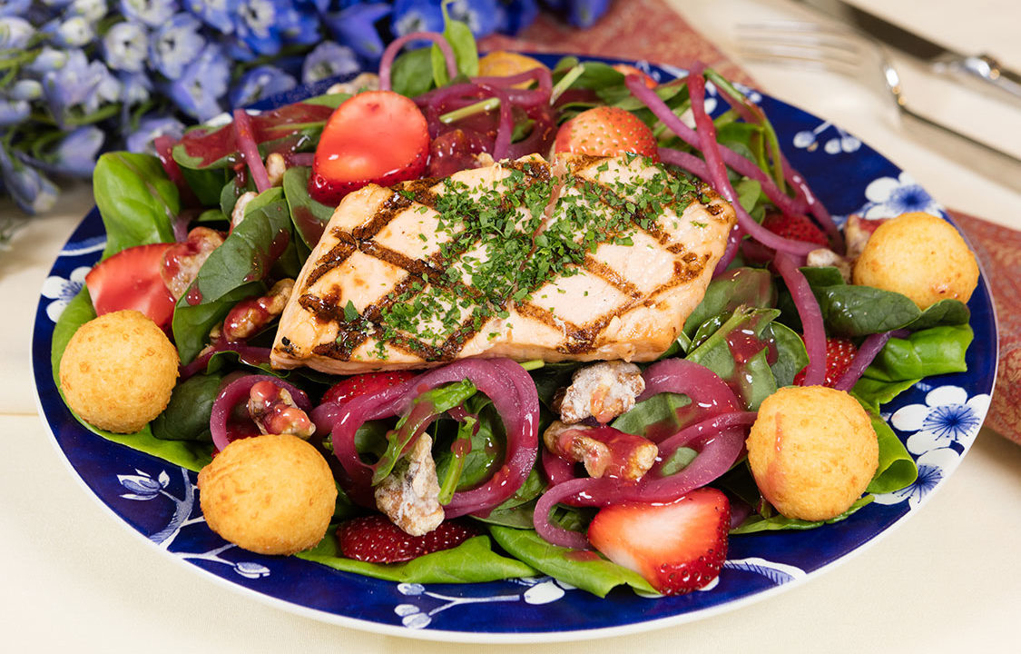 Salmon Strawberry Salad with Lemon Poppy Seed Dressing