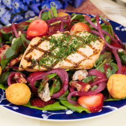Salmon Strawberry Salad with Lemon Poppy Seed Dressing
