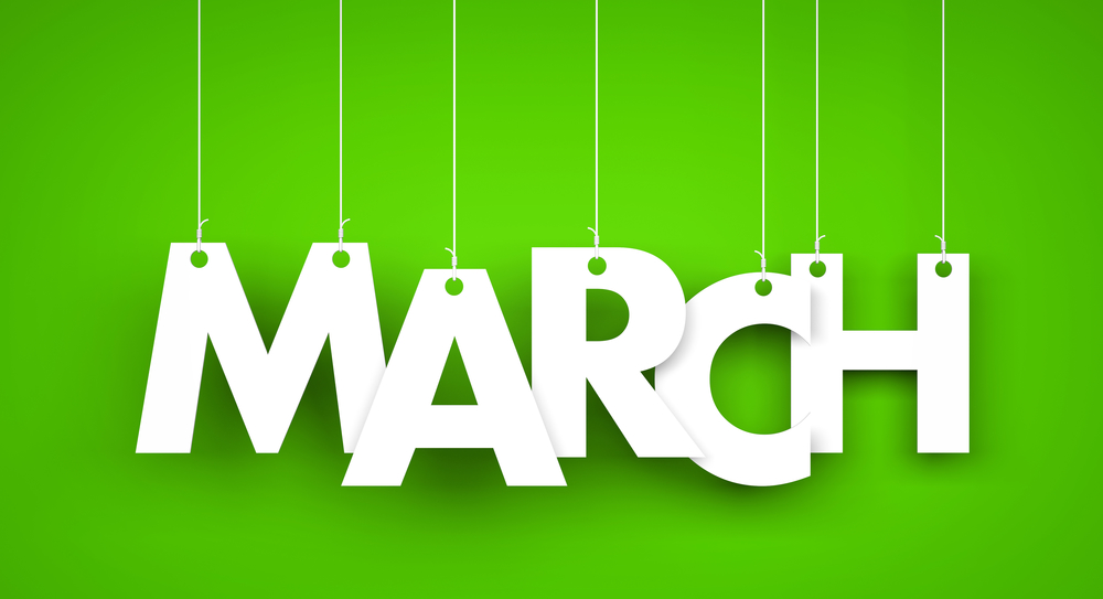 White word MARCH on green background. New year illustration. 3d  illustration - Mcknight Place
