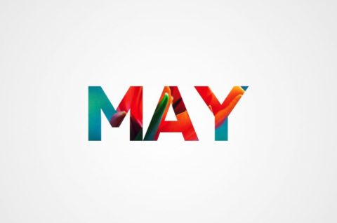 event calendar header graphic with MAY masking a flower