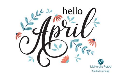 Hello April illustration header graphic