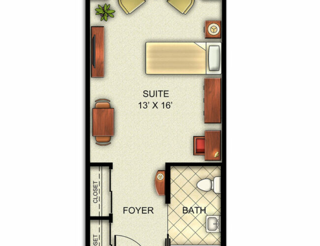 Assisted Living and Memory Care Studio apartment floorplan