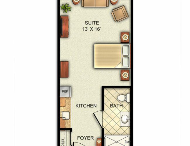 Assisted Living Deluxe Studio with Kitchenette floor plan