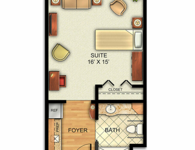 Assisted Living Deluxe Suite floor plan
