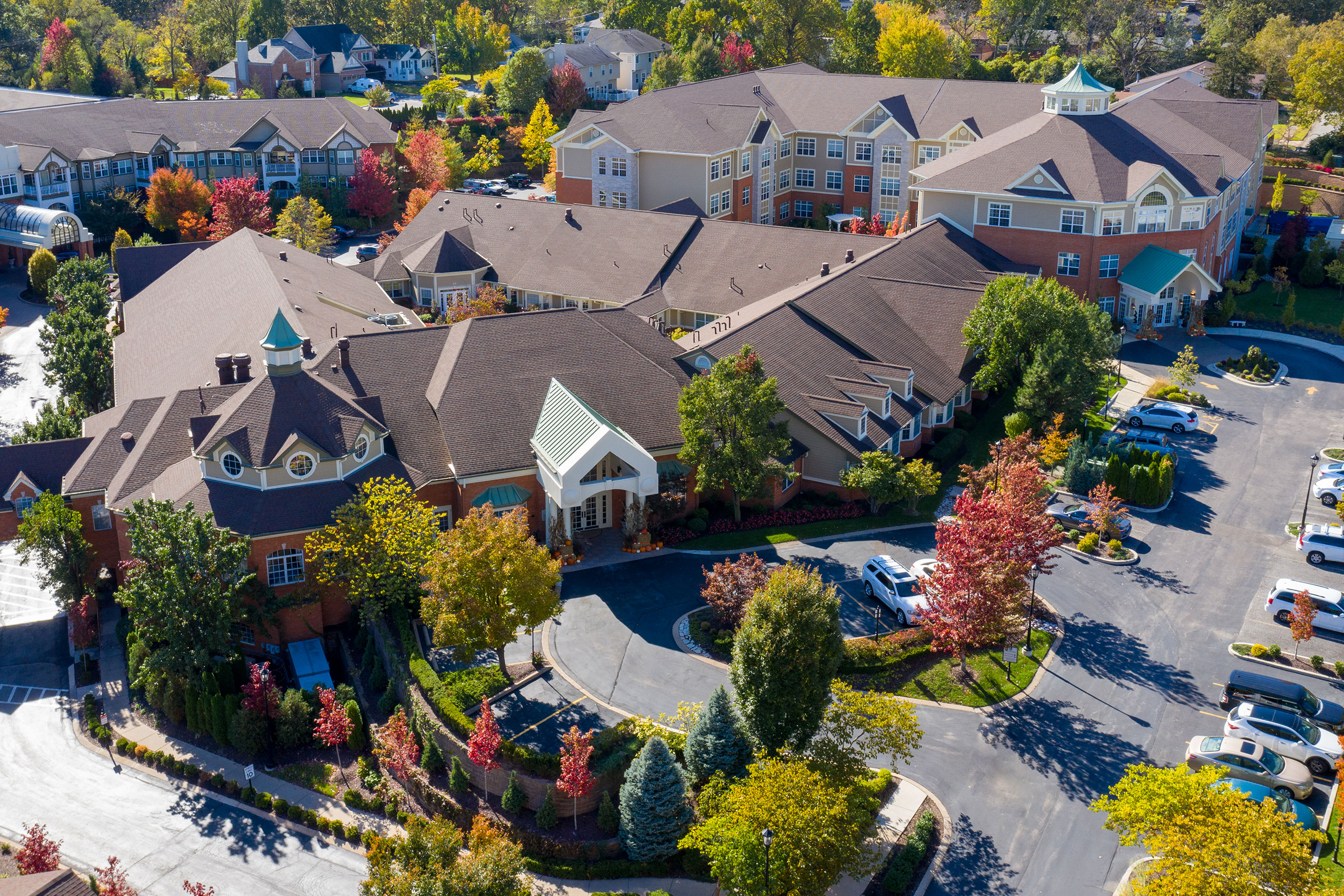 Aerial view of the McKnight Place Assisted Living and Memory Care buildings.
