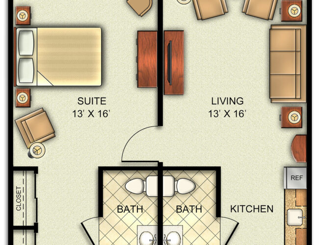 Assisted Living Deluxe One Bedroom Apartment.