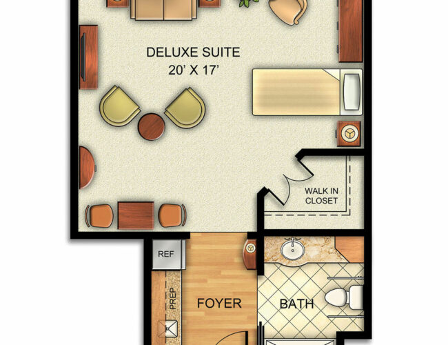 Assisted Living Deluxe Suite with Walk-In Closet.
