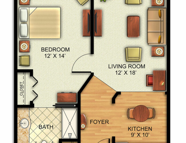 Assisted Living One Bedroom Apartment.