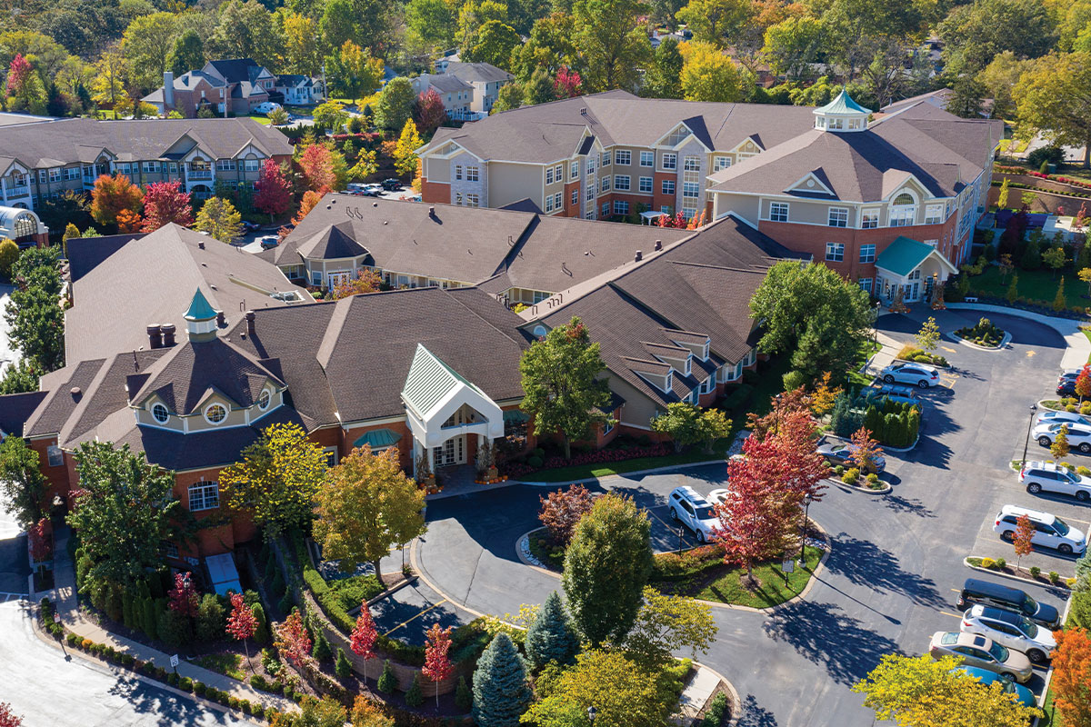 Aerial of McKnight Place Assisted Living and Memory Care campus.