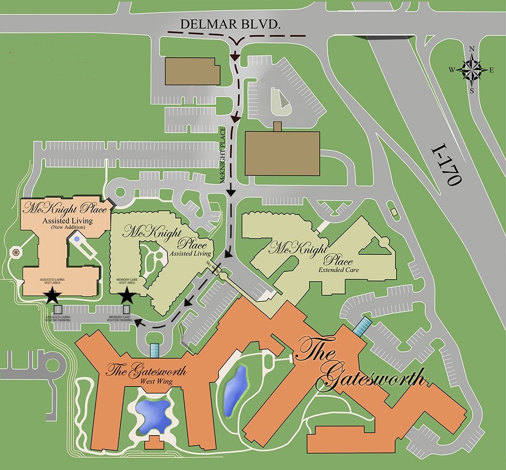 Gatesworth campus map showing McKnight Place Assisted Living and Memory Care outdoor visits route.