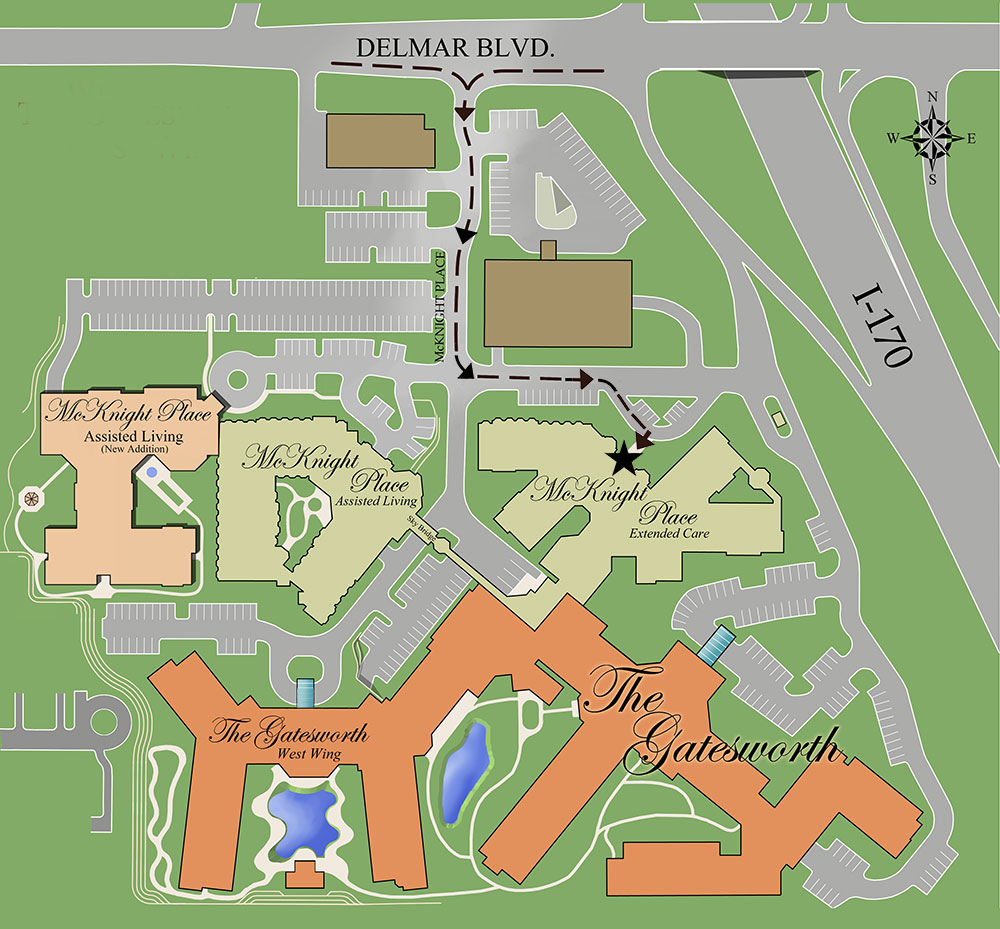 Gatesworth campus map showing McKnight Place Extended Care outdoor visits route.